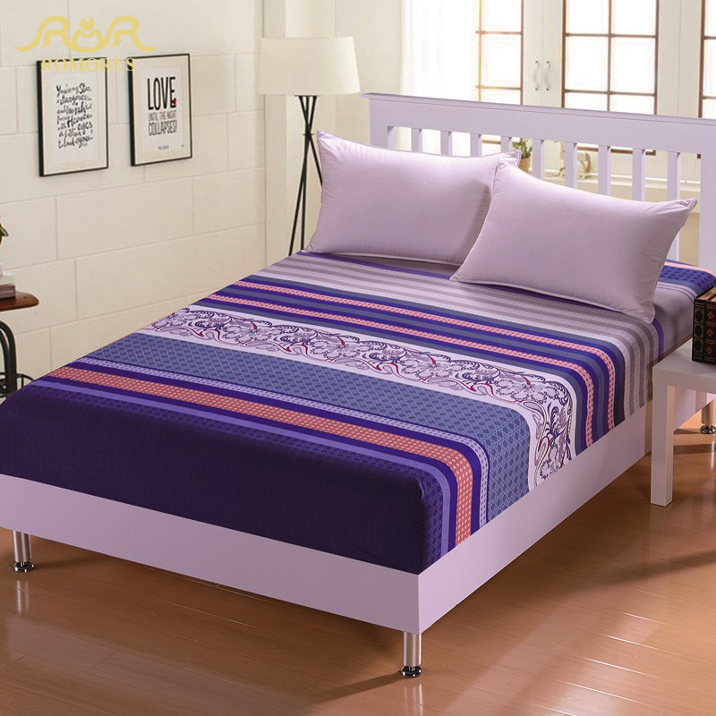 romorus beautiful printed sanding fitted sheet soft mattress cover bed sheets elastic band full queen size mattress protector