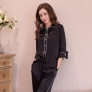 Image 3 - Genuine Silk Womens Pajamas 100% Silk Sleepwear Female High Quality Sexy Black Pyjama Pants Two Piece Sets T8148