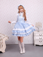 Cotton Blue Lace Front Ties Sweet Lolita Dress