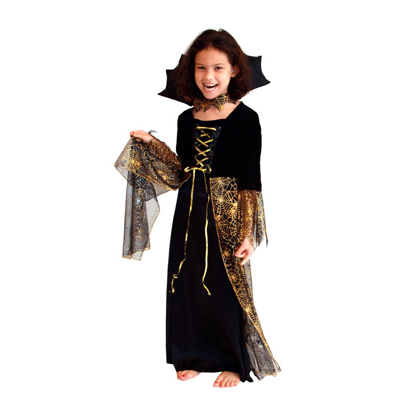 20pcs/lot Hot Brown New Beautiful Spider Girl Children Cosplay Costume Hallowean Party witch Costumes for Kids Cute Dresses