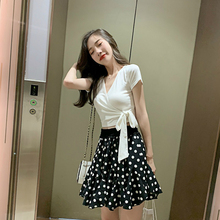 Internet Celebrity Style Sexy Blouse with Bow and Print Polka Dot Black Mini Skirt Modis Streetwear Summer 2 Piece Set for Wome elogy dress with bow and polka dot print printed