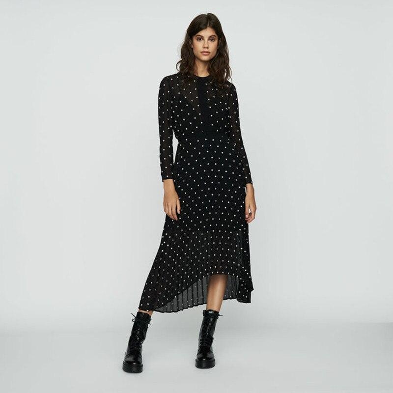여자 블랙 쉬폰 롱 드레스 긴 소매 꽃 프린트 draped 비대칭 미디 드레스-에서드레스부터 여성 의류 의  그룹 1