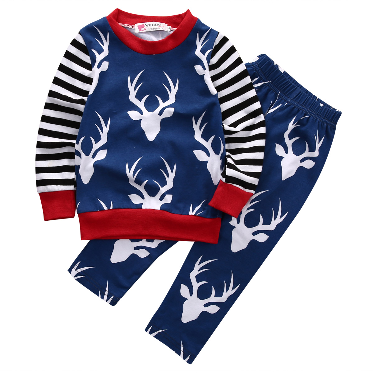 2 PCS Babies Deer Xmas Clothing Set Baby Kids Newborn Boy Clothes Set T shirt Tops
