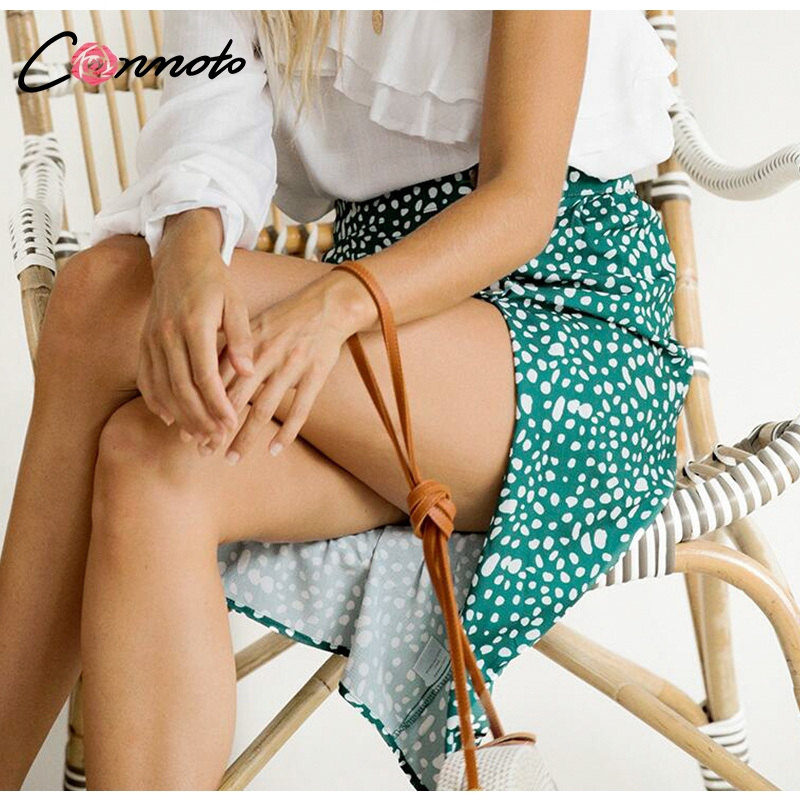 Conmoto High Waist Split Midi Skirts Women Button Green Leopard Dot Print Casual Chic Summer Skirt Sexy High Fashion Boho Skirt