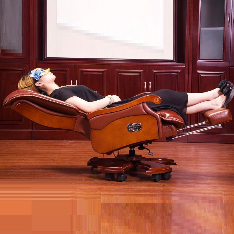 Computer Household Wood Swivel Executive Boss Leather Office Chair boss chair real leather computer chair home massage can lie in the leather chair solid wood armrest office chair 06