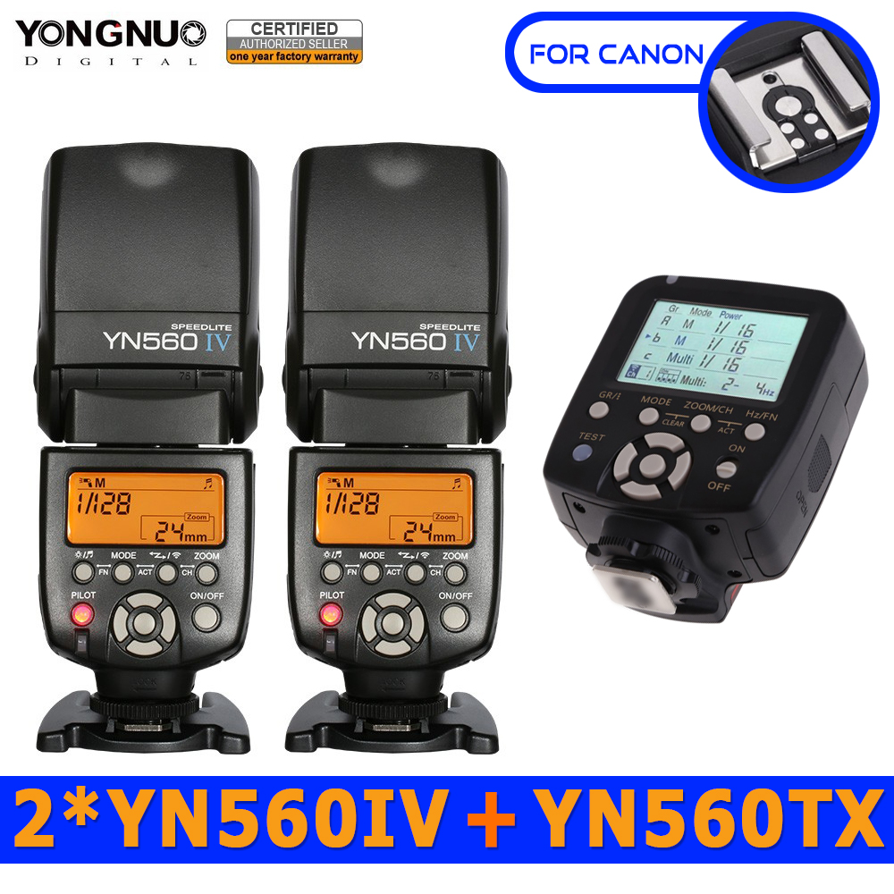 2pc Yongnuo YN560IV 560IV Speedlite Speedlight + YN560-TX Wireless Flash Controller for Canon DSLR Cameras 5D 60D 6D 7D 60D 5D3 yn e3 rt ttl radio trigger speedlite transmitter as st e3 rt for canon 600ex rt new arrival