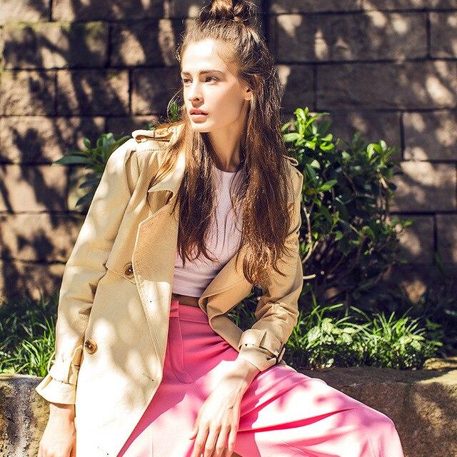 [XITAO] НОВАЯ осень Европа ветер стиль мода двойной брестед длинные отложным воротником широкий талией форму женский траншеи, XYB-004
