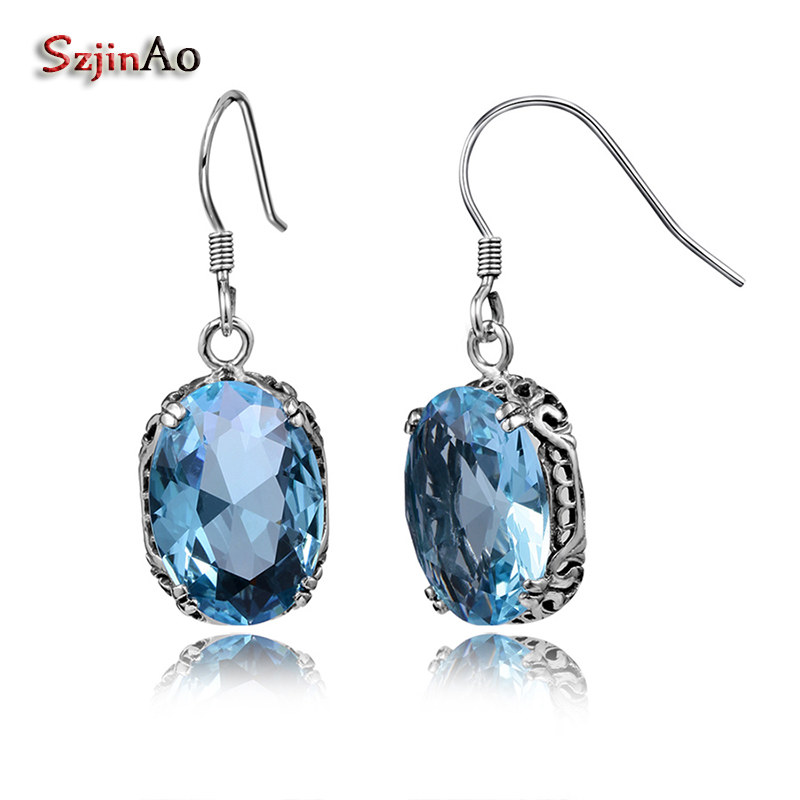 Szjinao 925 Sterling Silver Retro Bohemian Earrings Aquamarine Stones For Women Dress Fashion Simple Jewelry boucle doreille