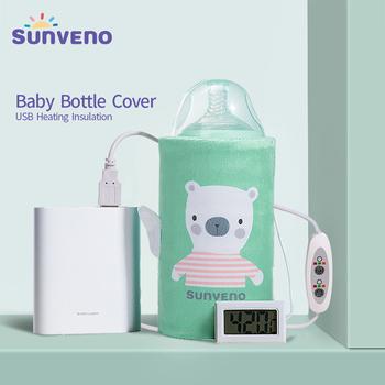 SUNVENO przenośny podgrzewacz do butelki na mleko dla niemowląt USB do ładowania termoizolacyjna torba do przechowywania mleka dla niemowląt lub ciepłej wody tanie i dobre opinie Polyester STANDARD Żywności Cartoon Dzieci Torby do przechowywania