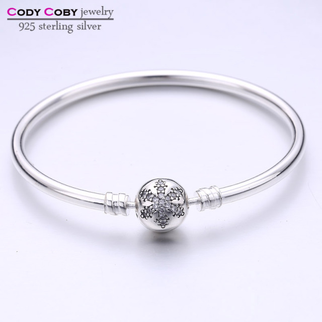 925 Sterling Silver Bracelets Bangles With Engrave Snowflake Clasp Fit Original Charms For Cody Coby