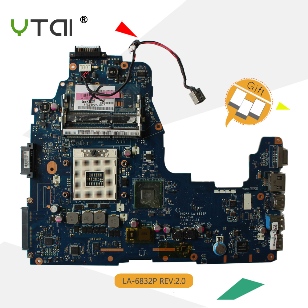 YTAI LA-6832P A660 A665 For Toshiba Satellite A660 A665 Laptop Motherboard PHQAA LA-6832P REV:2.0 HM65 USB3.0 DDR3 Mainboard h000023260 laptop motherboard for toshiba satellite u500 intel hm55 pn 08n1 0ck4q00 rev 2 1 with graphics slot mainboard