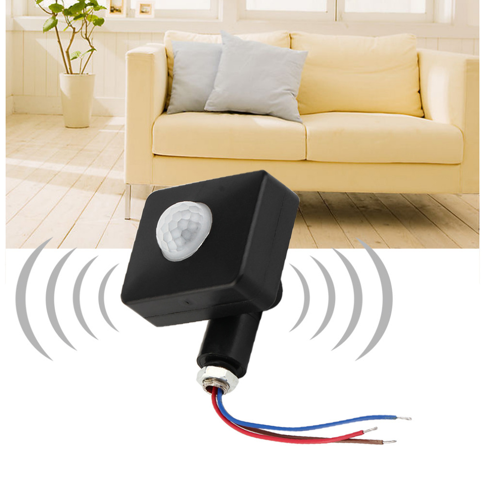 купить Black Automatic 12M PIR/PIR85-265V Security PIR Infrared Motion Sensor Detector Wall LED Light Outdoor RF 140degree недорого