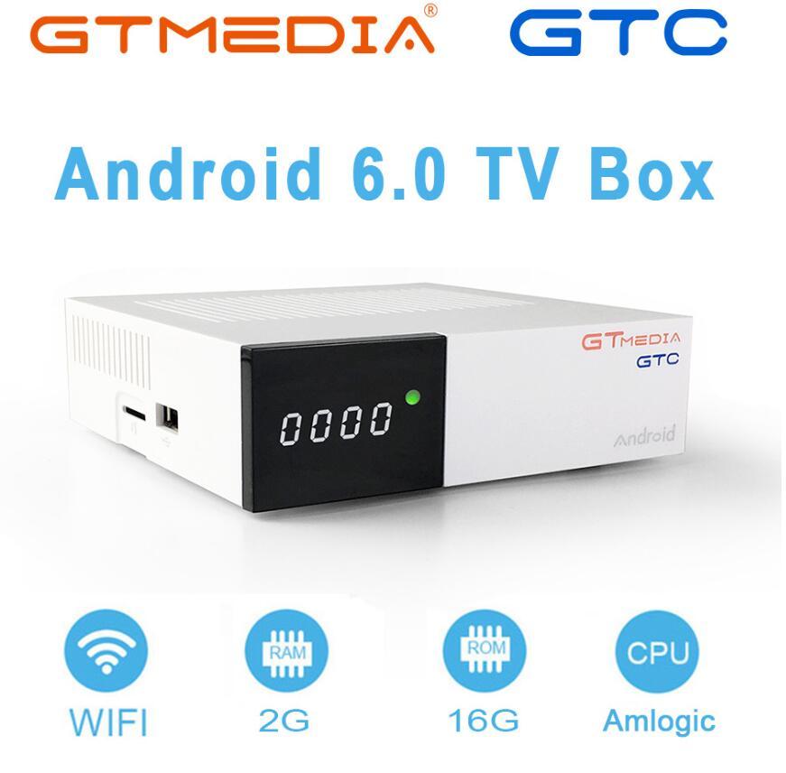 2PCS/LOT GTmedia GTC android 6.0 Satellite Receiver DVB S2 DVB C DVB T2 ISDB T 2GB+16GB Amlogic S905D GTmedia GTC-in Satellite TV Receiver from Consumer Electronics    1