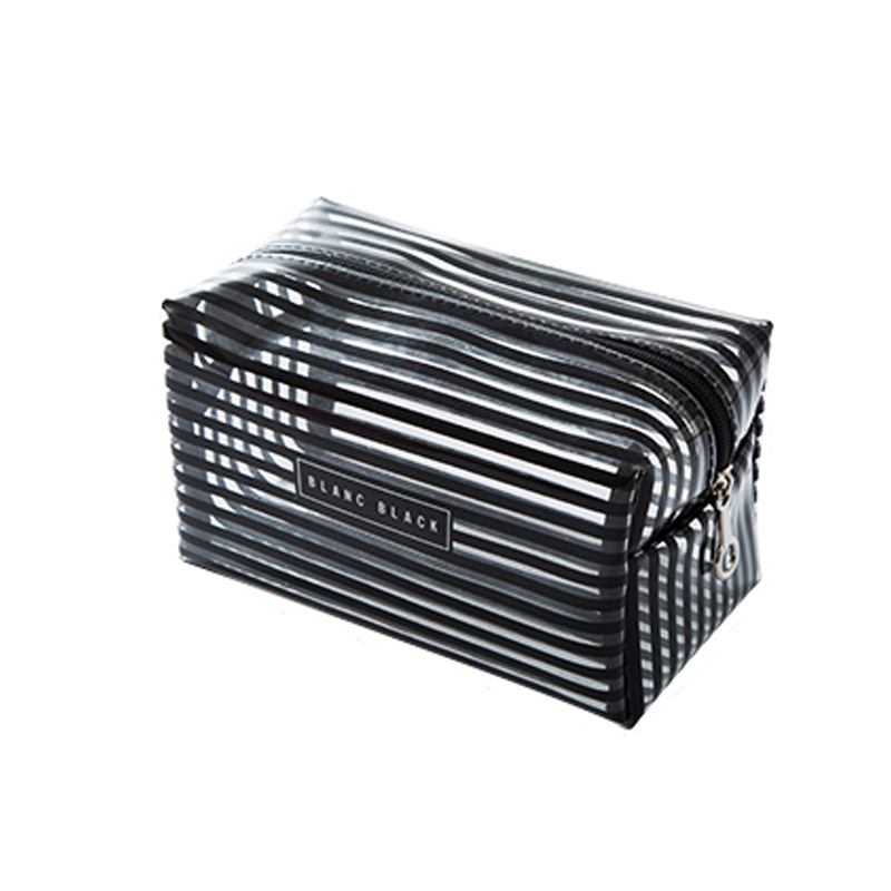 Portable Waterproof Transparent Makeup Bag Fashion Striped Zipper Cosmetic Organizer Women Travel Toiletry Bag(China)