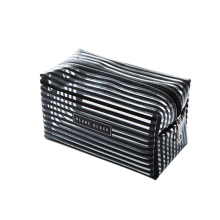 Portable Waterproof Transparent Makeup Bag Fashion Striped Zipper Cosmetic Organizer Women Travel Toiletry Bag