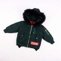 fashion Autumn Warm Down Thick Fur Collar Hooded Coat Children's Parka Boys girls Kids Teenage Winter Jacket warm clothing