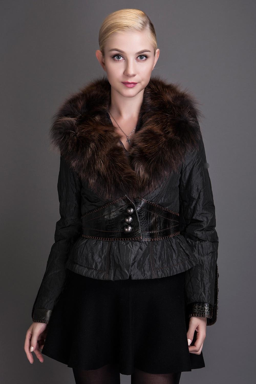ФОТО Basic Editions 2016 Winter Coat Metallic Silk Fabric With Rabbit Fur Collar Cotton Jacket Single Breasted - S029