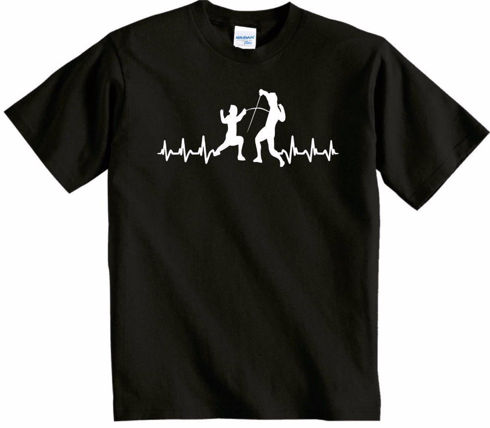 Summer Style T Shirt Men O-neck Tops Summer Its My HeartBeat Fencing UK P&P Perfect Fencing Gift Present Brand T shirt