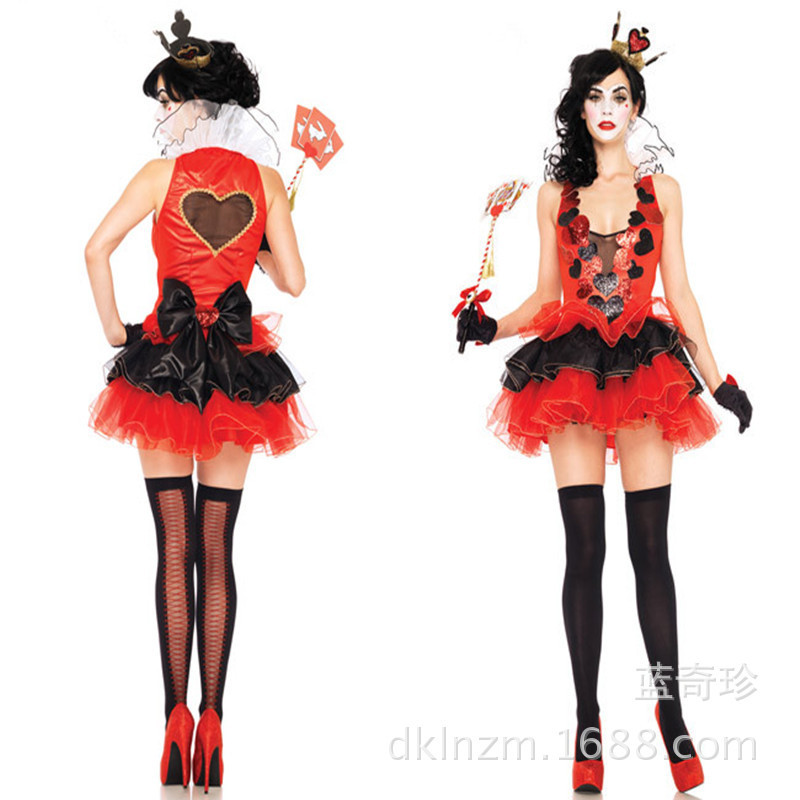 Deluxe Women Queen of Hearts Adult Tail Costume HALLOWEEN Dress