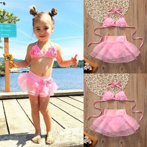 Děti Dívky Oblečení Děti Bikiny Sada Růžové Plavky Plavky Plavky Dívka Plavky