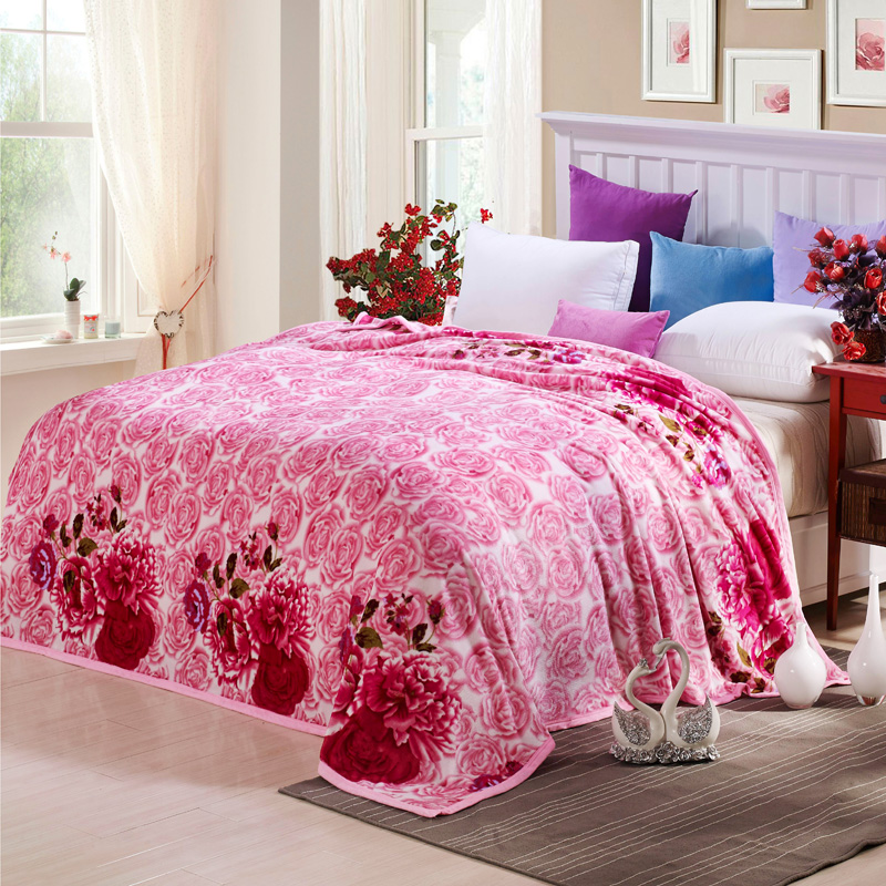 Blankets Home Textile Dutiful Pink Print Blanket Soft Fleece Bedsheet Sofa/bedding Throws Twin Full Double Queen King Size Possessing Chinese Flavors