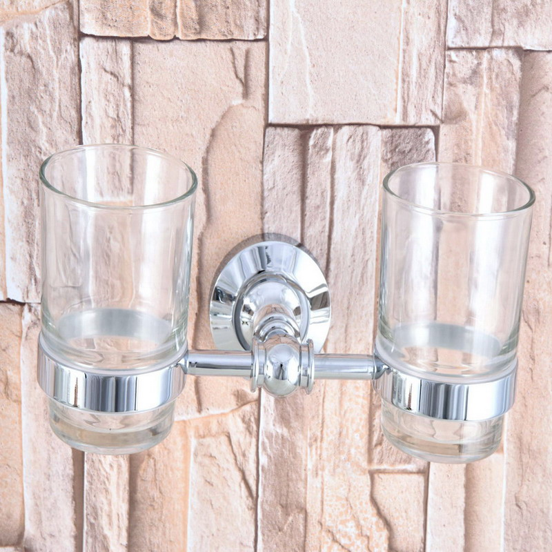 Polished Chrome Brass Double Toothbrush Holder With Glass Cup Wall Mounted Bathroom Accessories aba799 image