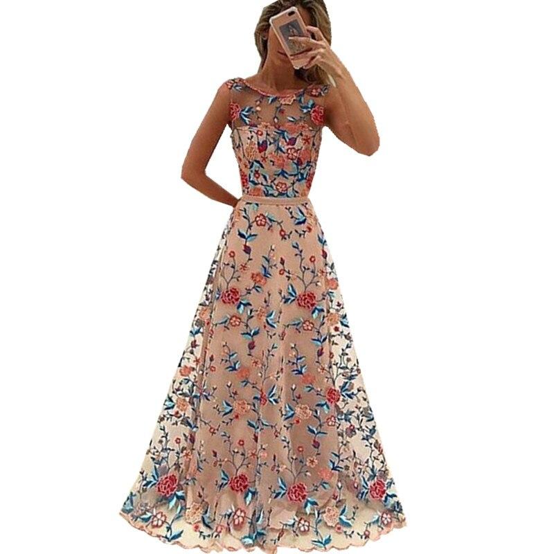 Runway Women Floral Embroidery Flower Dress Summer Mesh