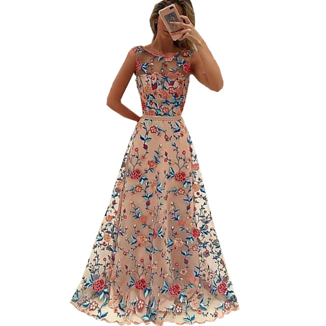 Runway Women Floral Embroidery Flower Dress Summer Mesh ...