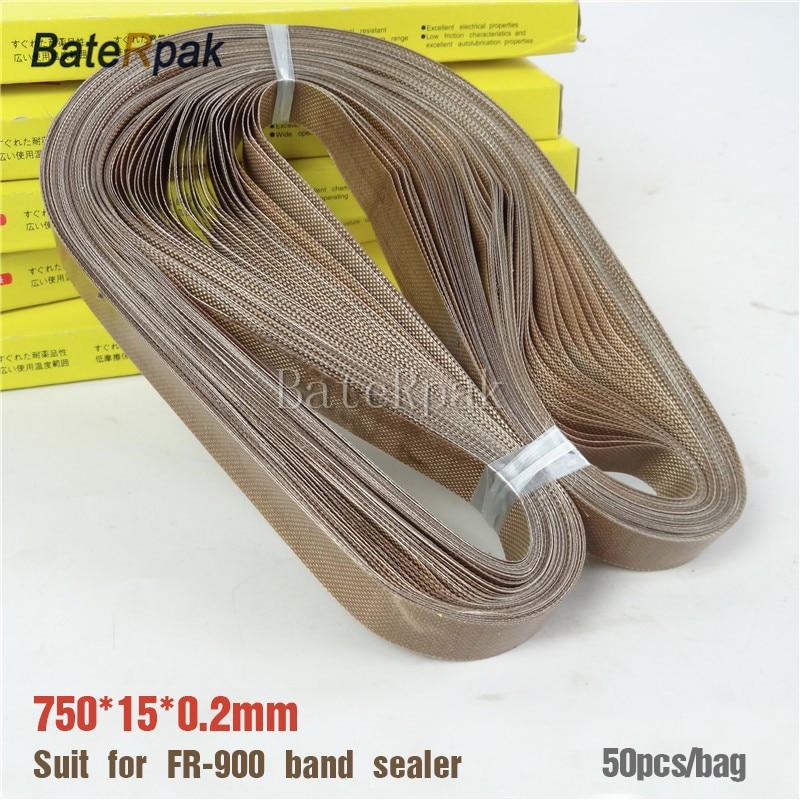 FR-900 sáv tömítő teflon öv, BateRpak méret 750 * 15 * 0,2 mm folyamatos sáv tömítéshez, 50 db / zsák, magas hőmérsékletű szalag