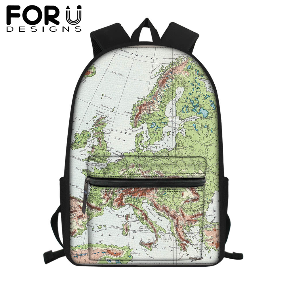 FORUDESIGNS Custom Own Country's Map School Bag for Boy Girls Students Laptop Backpack Teenager Men Satchel Travel Bag Rucksack