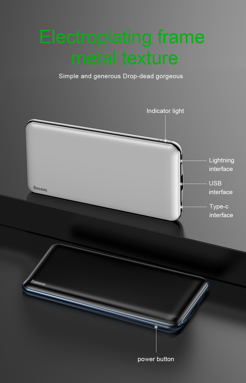 Baseus USB PD Fast Charging Power Bank For iPhone Xs Xs Max XR 18 X 8 8 Plus Powerbank 3A Quick Charge USB Type C Power Bank 13
