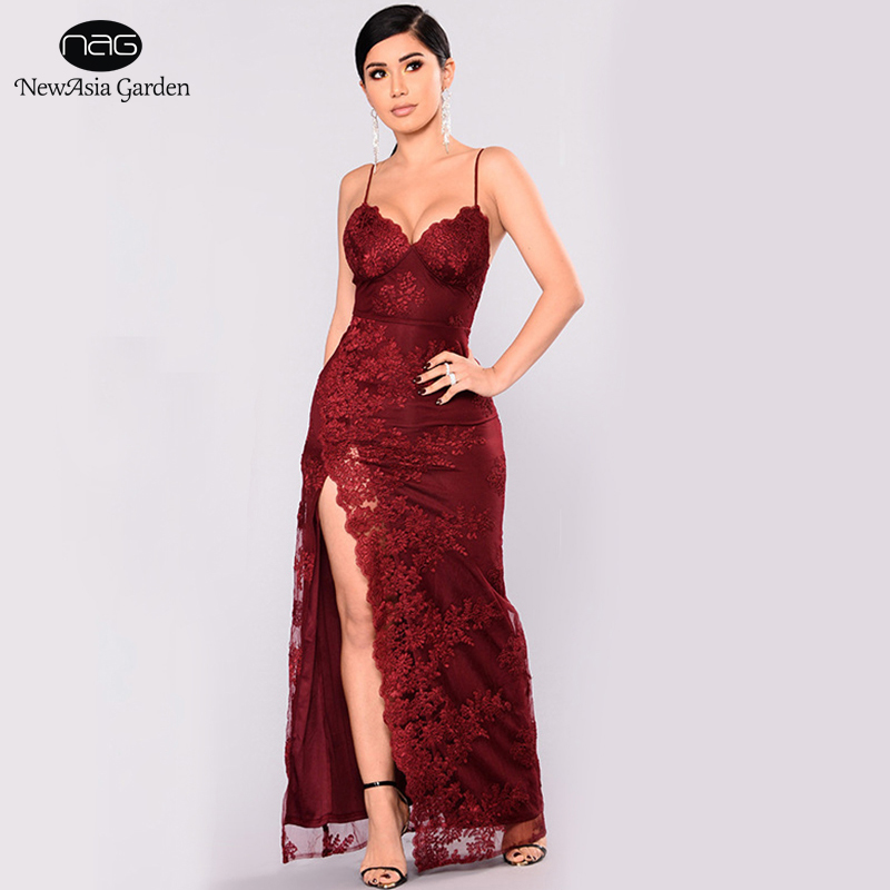 Detail Feedback Questions about NewAsia Women Summer Dress 2018 Luxury Plus  Size Long Maxi Dress Elegant White Lace Dress Sexy Party Dresses Red Club  ... 54c32d45d0e3