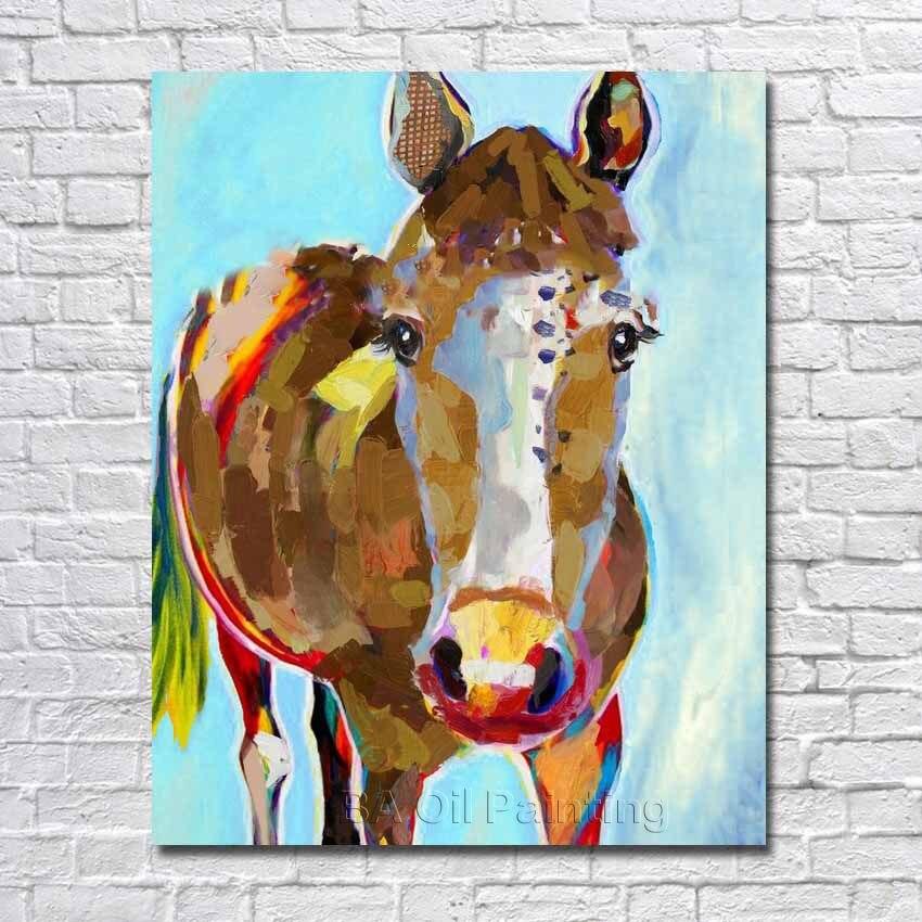 8a358813b الشحن مجانا رسمت باليد خلاصة الحديث الحصان صور الحيوانات النفط الرسم على  قماش جدار الفن لغرفة المعيشة ديكور لا مؤطرة