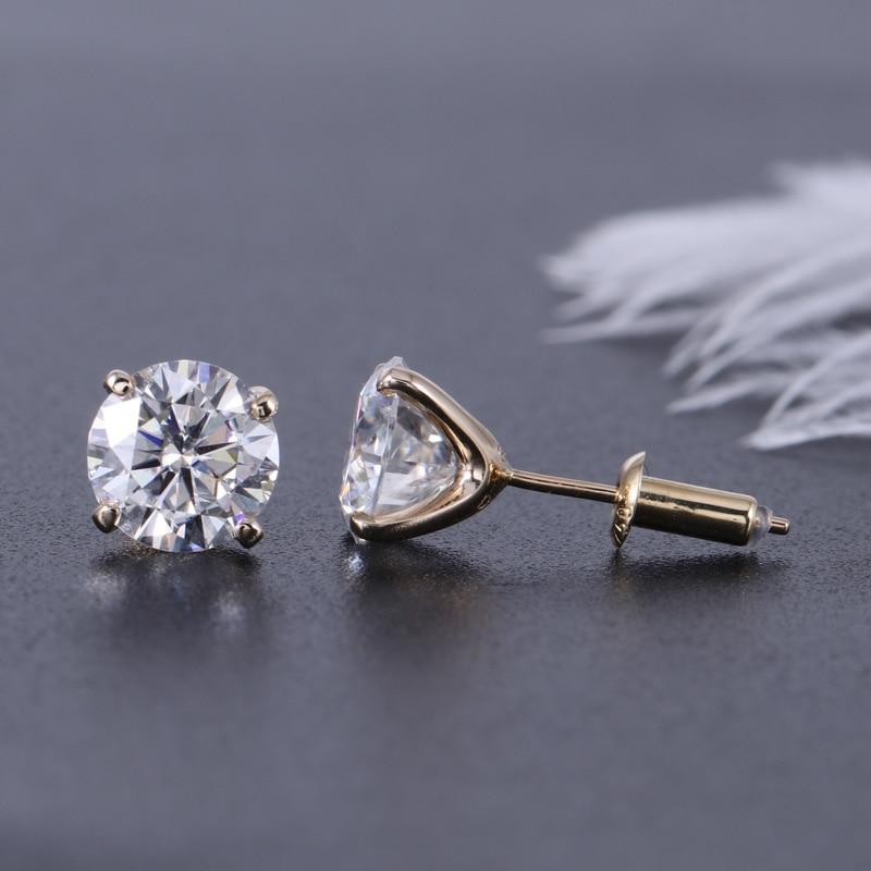 Transgems 14K 585 Yellow Gold 2CTW 6 5mm Moissanite Diamond Stud Earring Push Back Earrings For Women Wedding Jewelry in Earrings from Jewelry Accessories