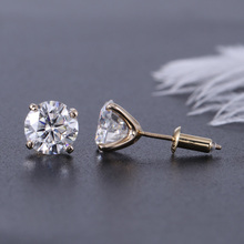 TransGems 2 CTW Carat F Colorless Moissanite Earrings Pure Brilliant Push Back 18K White Gold Bezel Setting for Women
