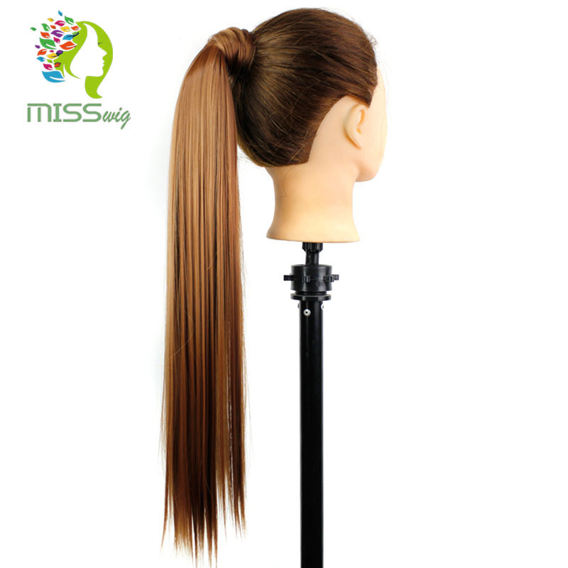 Drawstring Ponytail Extension-Style Clip-In Available Straight Synthetic Long Miss-Wig