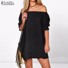Vestidos 2017 ZANZEA Women Sexy Off Shoulder Mini Party Dress Casual Loose Half Sleeve Strapless Dresses Plus Size Long Tops