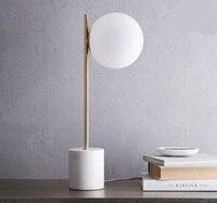 Пост современный минималистский мраморное основание стеклянный шар настольные лампы высокого класса отель столовая спальня гостиная наст