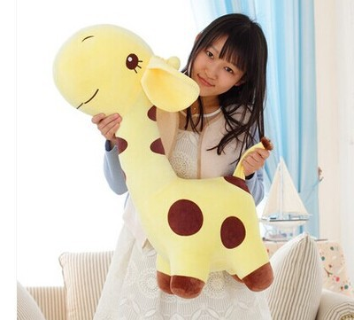 huge 85cm yellow giraffe plush toy cartoon spotted giraffe doll, throw pillow ,girlfriend pillow ,Christmas gift b4686 free shipping about 60cm cartoon totoro plush toy dark grey totoro doll throw pillow christmas gift w4704