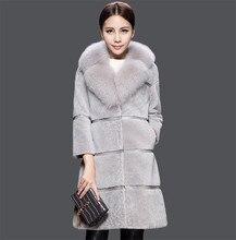 2016 Winter Woolen Coats With Faux Fur Collar Thicken Warm Slim Medium Long Women Clothing Faux Fur Coat For Lady  AA454