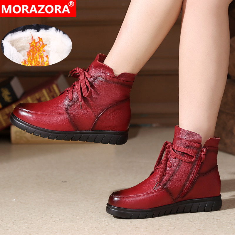 MORAZORA 2020 hot sale soft leather Motorcycle Boots women lace up warm snow boots zip flat shoes ladies ankle boots winter-in Ankle Boots from Shoes