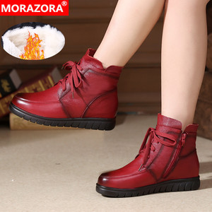 Image 1 - MORAZORA 2020 hot sale soft leather Motorcycle Boots women lace up warm snow boots zip flat shoes ladies ankle boots winter