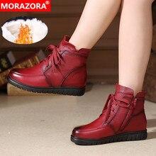 MORAZORA 2020 מכירה לוהטת רך עור אופנוע מגפי נשים תחרה עד חם שלג מגפי zip שטוח נעלי גבירותיי קרסול מגפי חורף