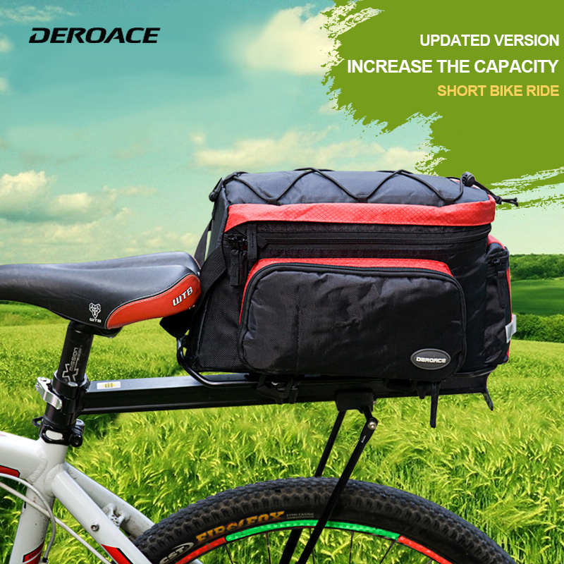 DEROACE Bicycle Bag Accessories Bag Rainproof Nylon Bicycle Basket Saddle Bags Backpack Versatile Black Unisex Bike Bags Ce d28 600d nylon waterproof bicycle saddle bag black