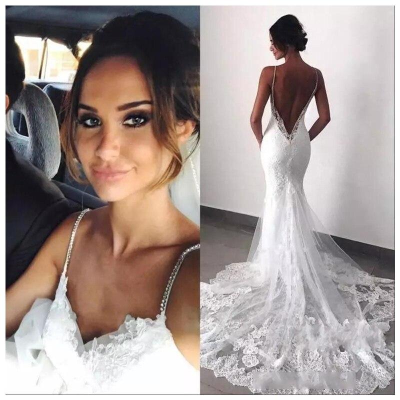 LORIE Beaded Mermaid Wedding Dress Sleeveless 2019 Vestidos de novia Informal Bridal Gown Custom Made Backless Wedding Gowns