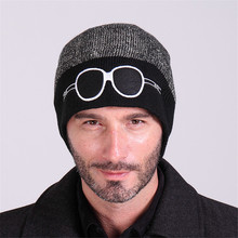 New winter cartoon embroidered glasses double color knitted cap Men's and women's hat turtleneck cap warm ski hat