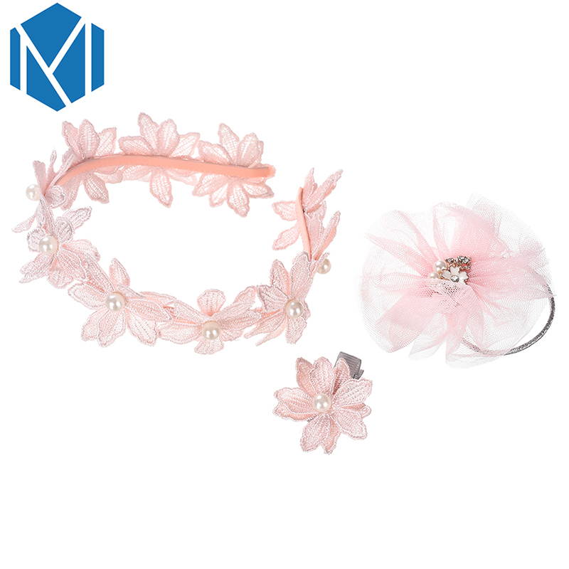 M MISM New 3Pcs Pink Headwear Set Baby Chic Pearl Floral Hair Band Flower Headband Fabric Hair Clips Lace Baby Hair Accessories