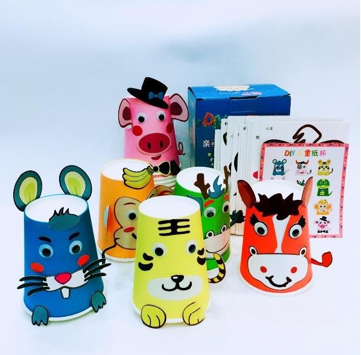 12pcs/set DIY Paper Cup Craft Kits Kids Cartoon Animal Chinese Zodiac Gift Box Creative Kindergarten Baby Educational Toys