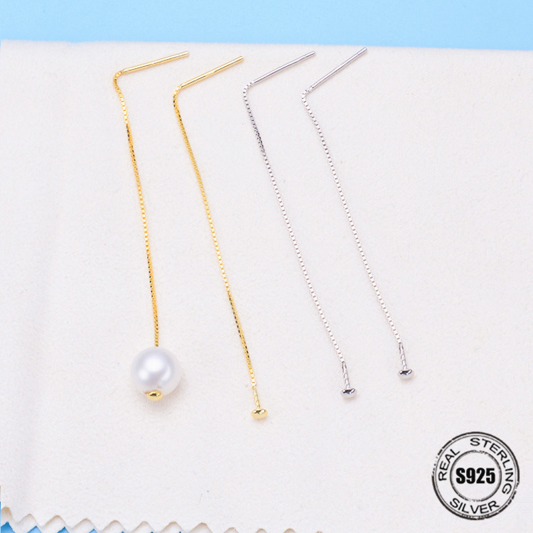 100% 925 Sterling Silver Twinkle Star Natural fresh water Pearl Drop Long Earrings for Women Clear Give concise Ear Studs Bag недорго, оригинальная цена