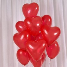 Red heart-shaped latex baloons 50pcs/lot 10inch ballon anniversaire 1 ans birthday party supplies babyshower ball
